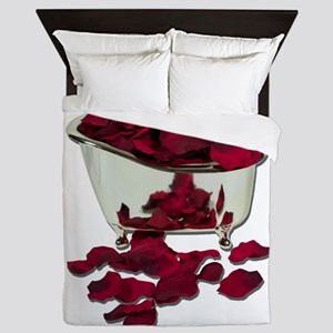 BathtubFilledWithPetals100711 Queen Duvet