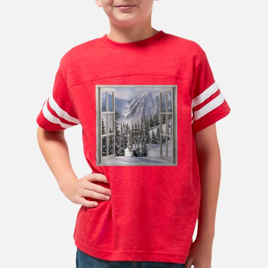 Winter Wonderland Window View Youth Football Shirt