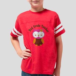 2nd grade teacher pink owl Youth Football Shirt