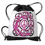 Pink Peace Signs Drawstring Bag