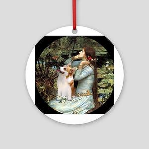 Ophelia (#2) & Corgi (Pem) Ornament (Round)