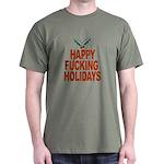 Ad-free Happy Fucking Holidays Black T-Shirt