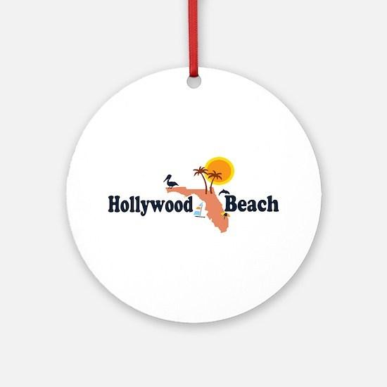 Hollywood Beach - Map Design. Ornament (Round)