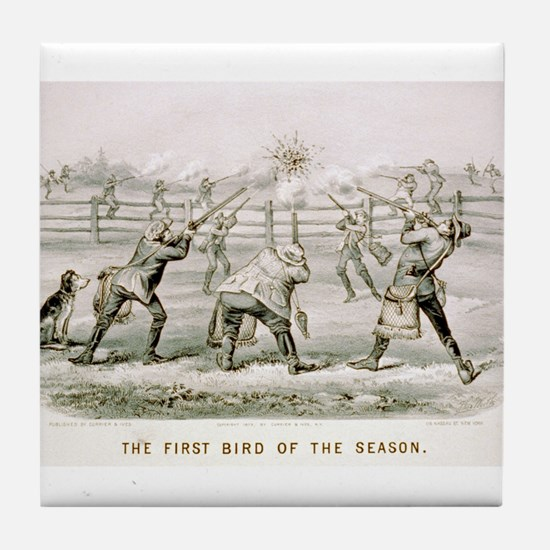 The first bird of the season - 1879 Tile Coaster