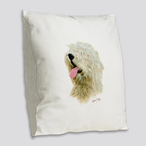 Old Eng. Sheepdog / Bobtail Burlap Throw Pillow