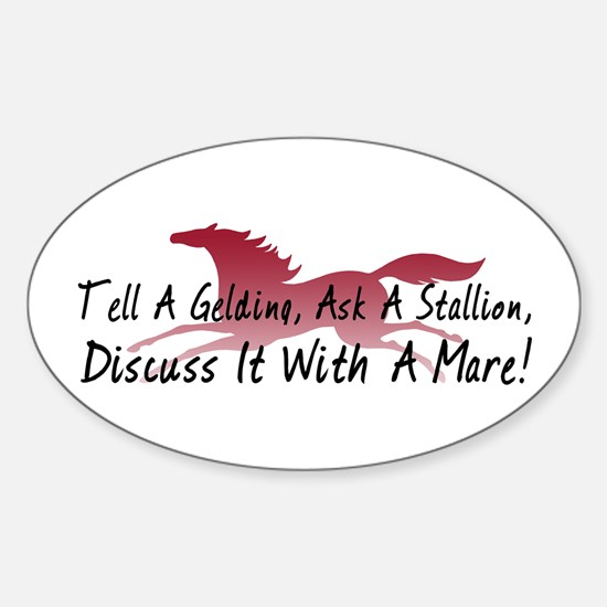 Discuss It With A Mare! Oval Decal