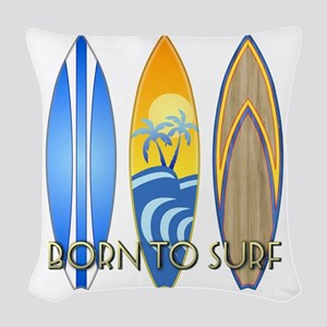 Born To Surf Woven Throw Pillow