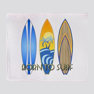 Born To Surf Throw Blanket
