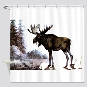 Cartoon Moose Shower Curtains