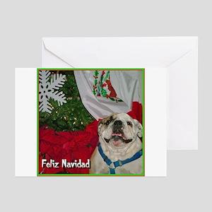 Bulldog Wishing You Feliz Nav Greeting Cards (Pack