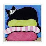 Black Tuxedo CAT On Cushions ART Tile