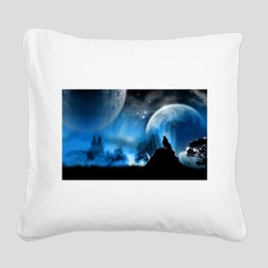 Wolf at Midnight Square Canvas Pillow