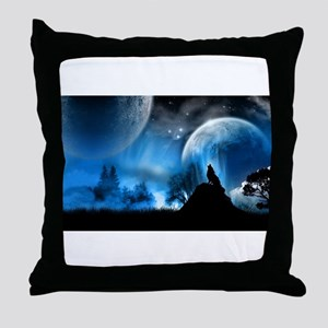 Wolf at Midnight Throw Pillow