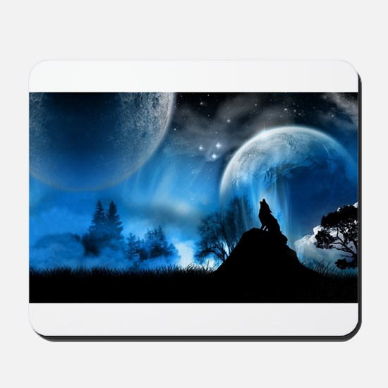 Wolf at Midnight Mousepad