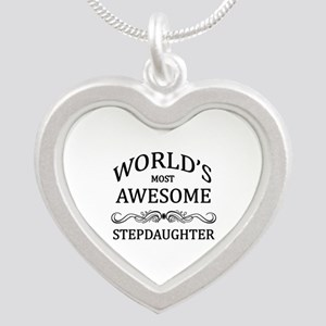 World's Most Awesome Stepdaughter Silver Heart Nec