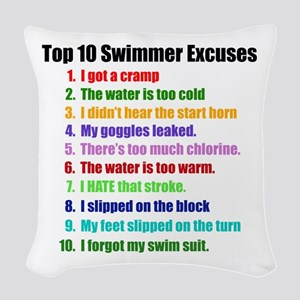 Swim Excuses Woven Throw Pillow