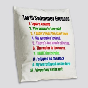 Swim Excuses Burlap Throw Pillow