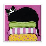 Tuxedo CAT On Cushions HOT Pink ART Tile