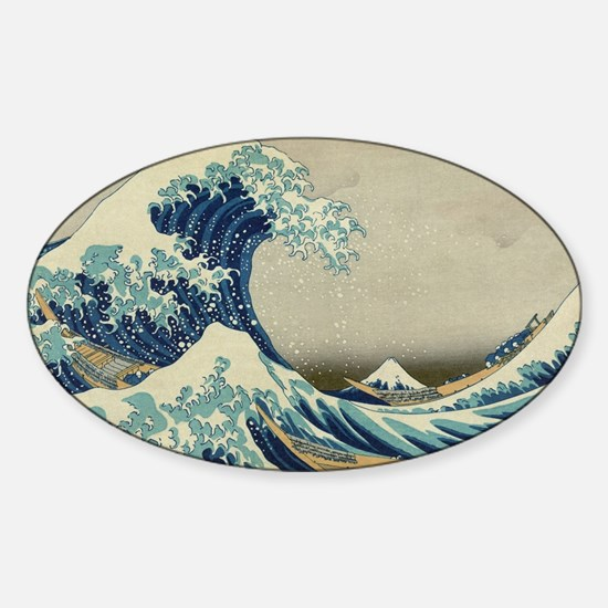Vintage Japanese Art, The Great Wav Sticker (Oval)