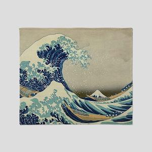 Vintage Japanese Art, The Great Wave Throw Blanket