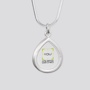 You Are Being Watched Silver Teardrop Necklace