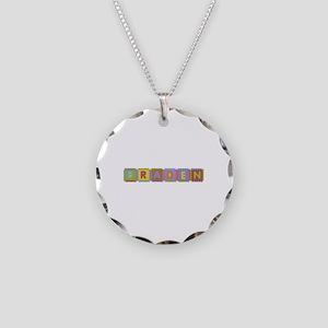 Braden Foam Squares Necklace Circle Charm