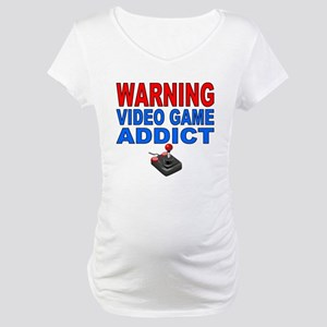 Warning Video Game Addict Maternity T-Shirt