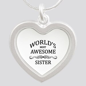 World's Most Awesome Sister Silver Heart Necklace