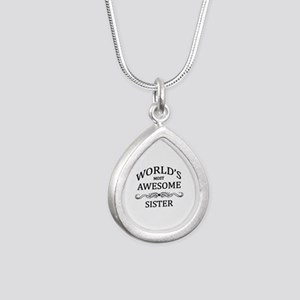 World's Most Awesome Sister Silver Teardrop Neckla