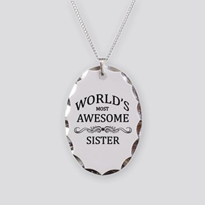 World's Most Awesome Sister Necklace Oval Charm