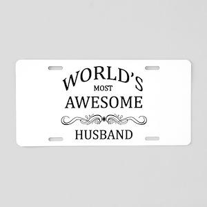 World's Most Awesome Husband Aluminum License Plat