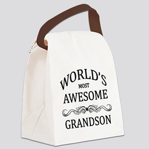 World's Most Awesome Grandson Canvas Lunch Bag
