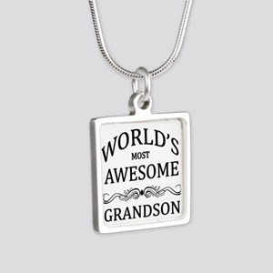 World's Most Awesome Grandson Silver Square Neckla