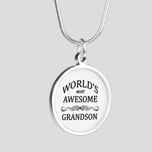 World's Most Awesome Grandson Silver Round Necklac