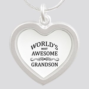World's Most Awesome Grandson Silver Heart Necklac