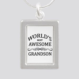 World's Most Awesome Grandson Silver Portrait Neck
