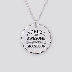 World's Most Awesome Grandson Necklace Circle Char