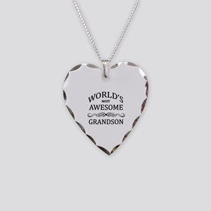 World's Most Awesome Grandson Necklace Heart Charm