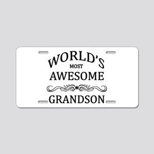 World's Most Awesome Grandson Aluminum License Pla