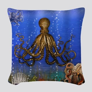Octopus' Lair - colorful Woven Throw Pillow
