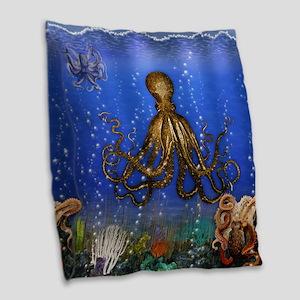 Octopus' Lair - colorful Burlap Throw Pillow