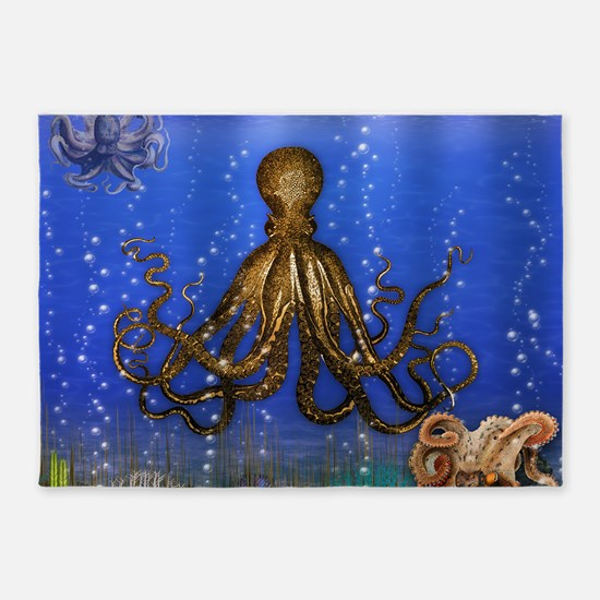 Octopus' Lair - colorful 5'x7'Area Rug