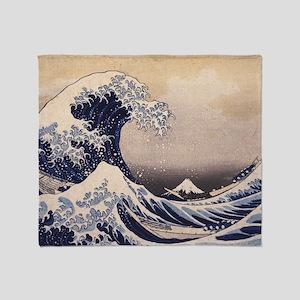 Great Wave by Hokusai, Vintage Japan Throw Blanket