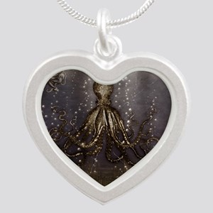 Octopus' lair - Old Photo Silver Heart Necklace