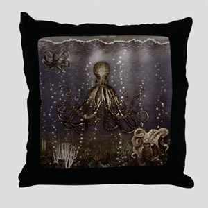 Octopus' lair - Old Photo Throw Pillow