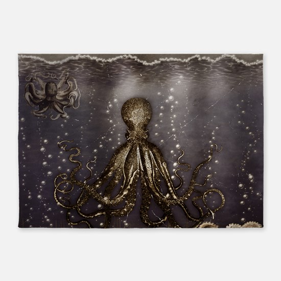 Octopus' lair - Old Photo 5'x7'Area Rug