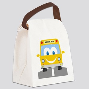 happy smiling school bus cartoon Canvas Lunch Bag