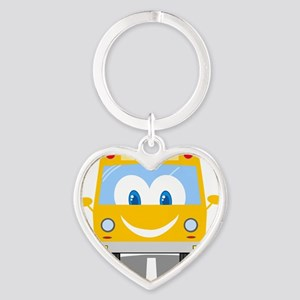 happy smiling school bus cartoon Heart Keychain