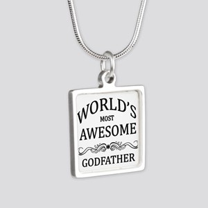 World's Most Awesome Godfather Silver Square Neckl