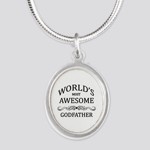 World's Most Awesome Godfather Silver Oval Necklac